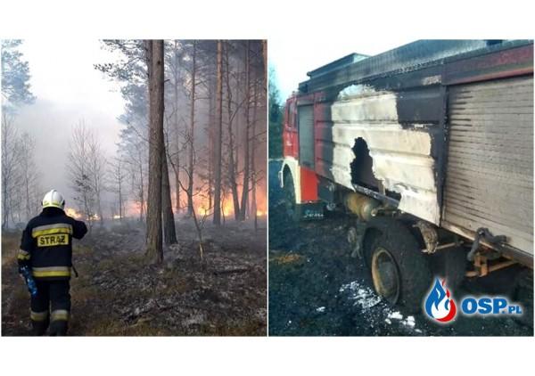 Wóz strażaków spłonął podczas gaszenia lasu. Ruszyła zbiórka na nowy.